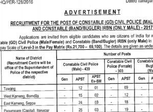 Arunachal Pradesh Police Recruitment 2017