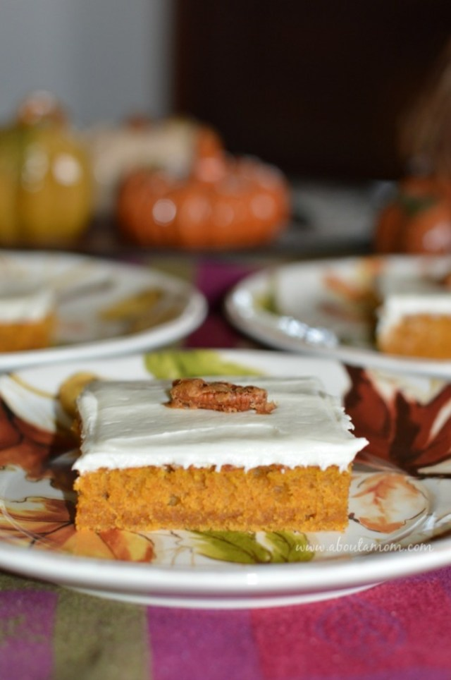 Pumpkin Bars with Maple Cream Cheese Frosting - About A Mom