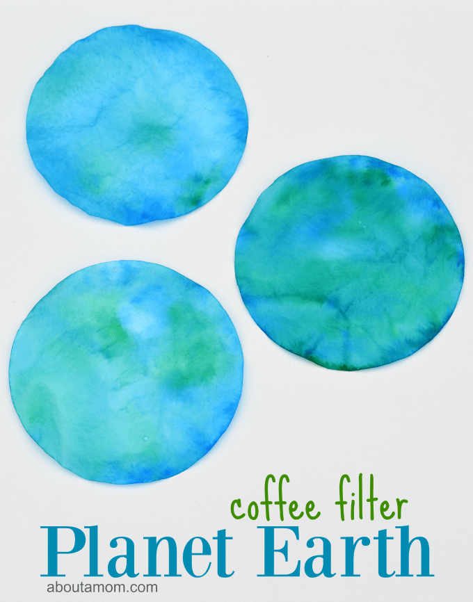 This coffee filter planet Earth craft is a great craft for kids to do on Earth Day.