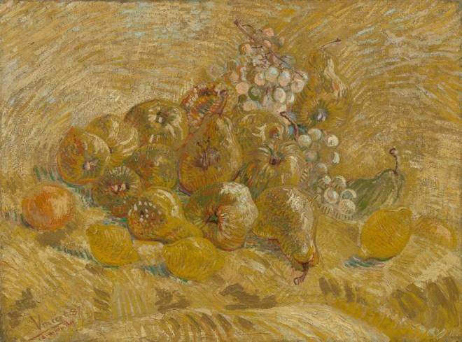 Kweeperen, citroenen, peren en druiven, Vincent van Gogh (1887)