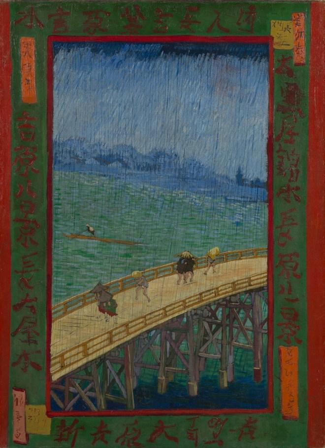 Brug in de regen, naar Hiroshe (1887).