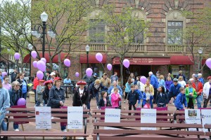 Walkers gathered on May 21, 2016 in Centerway Square on Market Street in Corning to support the 2016 Steps To End Poverty in Steuben (STEPS) Walk.