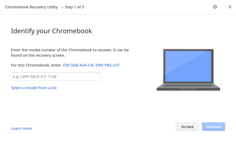 Identify your Chromebook recovery