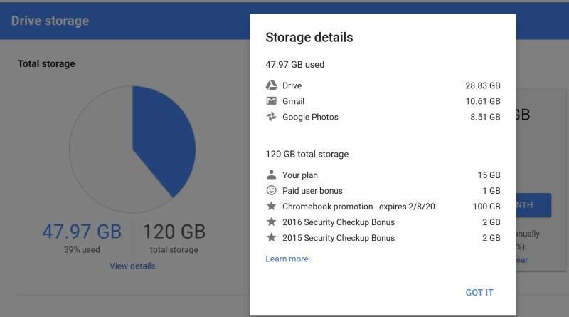 My Google Drive storage