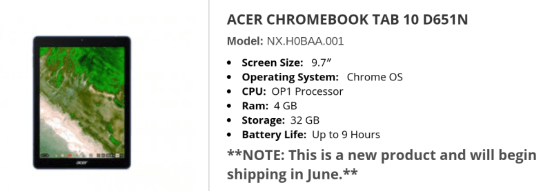Promevo Acer Chromebook Tab 10 shipping