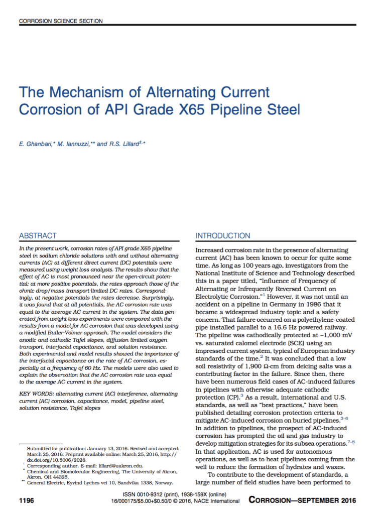 Mechanisms of alternating current corrosion