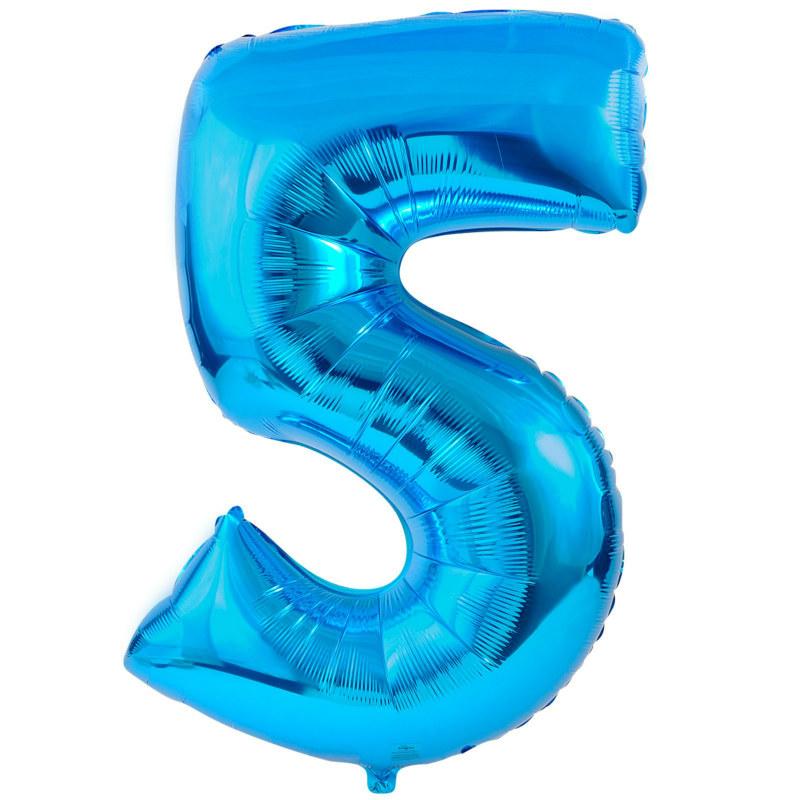 5 blue foil balloon