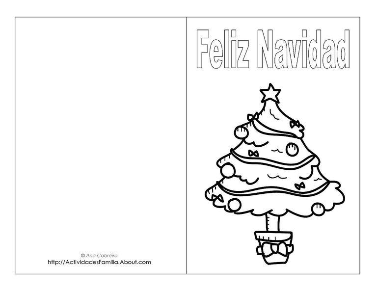 Tarjetas De Navidad Para Colorear Angel Postales De
