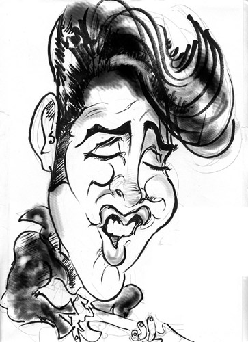 Caricatures of Elvis Presley by artists from About Faces