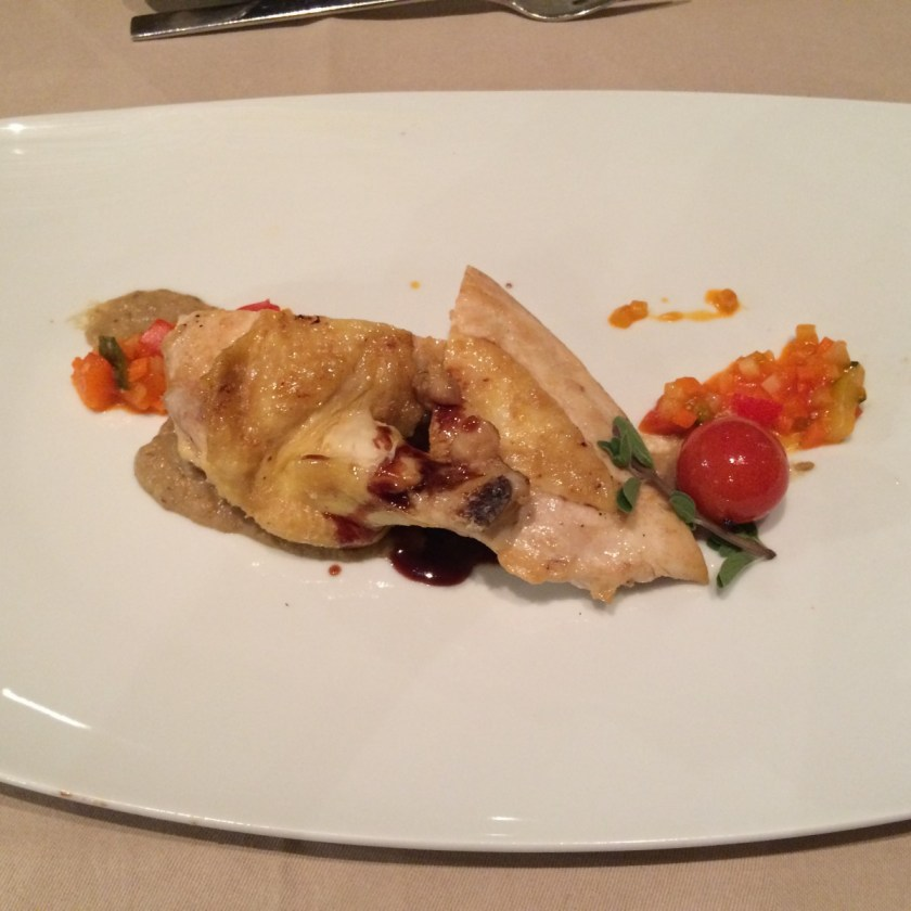 Dinner Hauptspeise: Eine leckere Händl-Variation mit Auberginen und Rotweinsoße