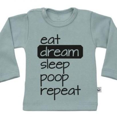 """Wooden Buttons longsleeve groen """"eat,dream,sleep,poop, repeat"""""""