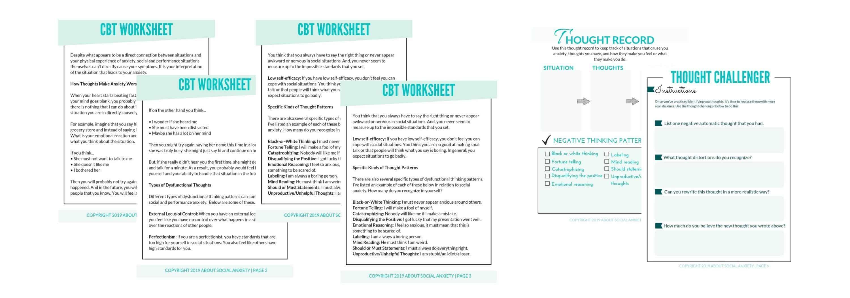 Mental Health Cognitive Behavioral Therapy Worksheet