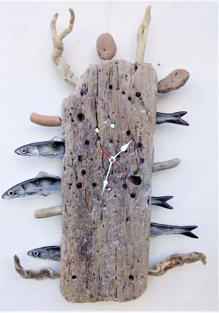 orologio in legno con alici in vetro Sepe Art Glass