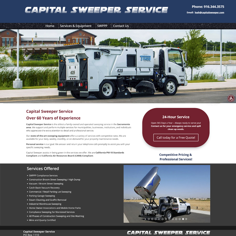Capital Sweeper Service web page