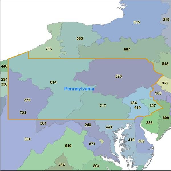 Pennsylvania Map Area Codes