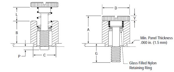 Captive CPFC2M3-40, PFC2-M3-40, Panel Fastener, 300 Series