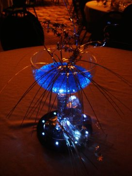 Giant margarita glasses cast a beautiful blue glow with our lighting