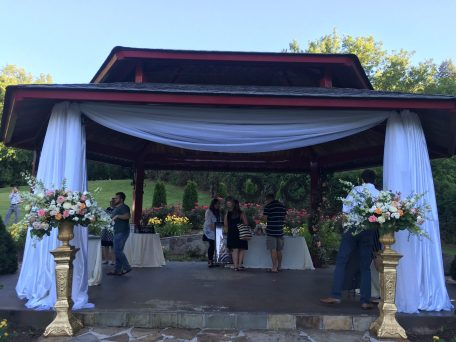 Create a welcoming backdrop in front of the Pagoda with our fire retardant fabrics