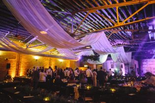 Adding sheer fabric to The Standard softens the industrial look and creates a FUN atmosphere!