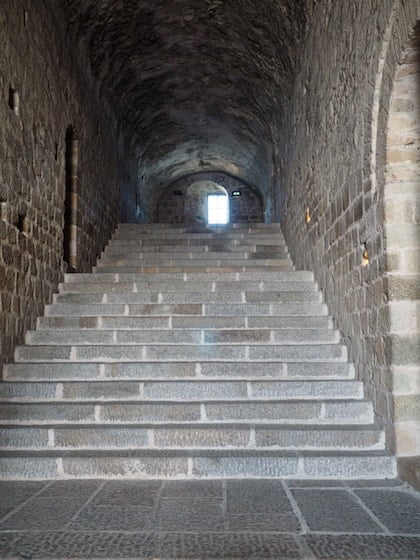 North-South steps inside the abbey at Mont St Michel