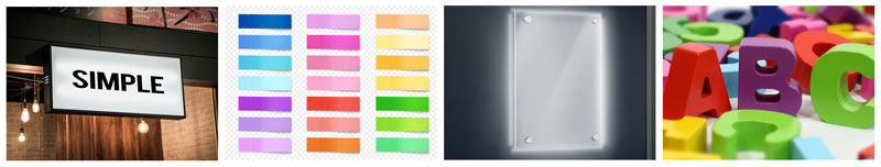 signage, plexiglass, PVC, adhesive, logo, stretched canvas