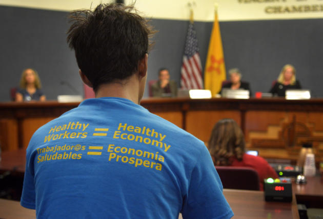 Keegan Kloer speaks in favor of the proposed paid time off ordinance at the Bernalillo County Commission Meeting on Tuesday. (Greg Sorber/Albuquerque Journal)