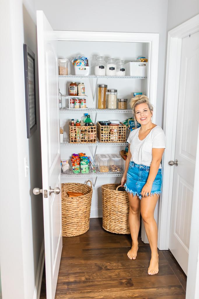 wicker basket, pantry storage