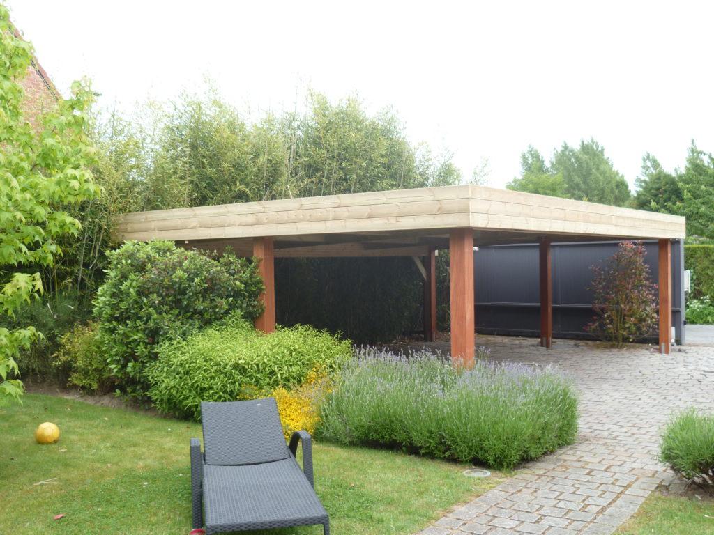 carport abri voiture toit plat 6 00 m x 6 00 m