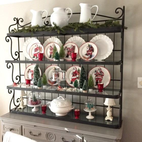 A Brick Home: Christmas hutch decor ideas, christmas hutch china cabinet, christmas hutch decorating ideas, christmas hutch decor dining rooms, christmas dining room, christmas dining room decor