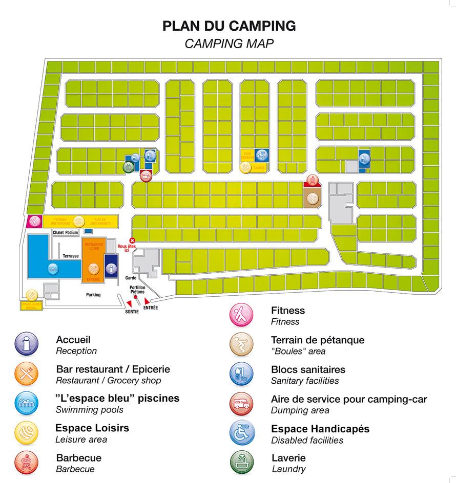 Abri de Camargue Camping Map