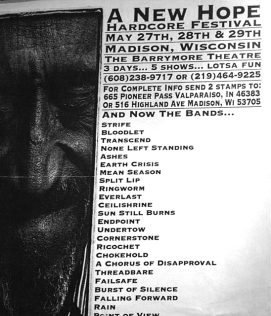 A New Hope Hardcore Festival, Madison, Wisconsin. May 27th - 29th 1994. Photo courtesy of Chris Logan.