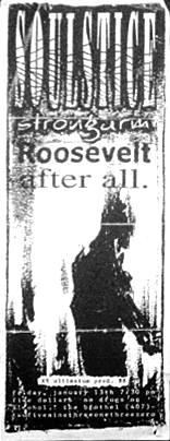 January 13th 1995 at The Brothel in Florida. Roosevelt, After All, Strongarm and Soulstice.