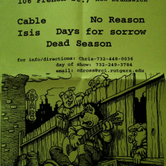 August 1st 1998 at The Melody Bar (New Brunswick, NJ) Dead Season with Cable, Isis, No Reason Drowningman, and Days for Sorrow. Photo courtesy of Mike Calder