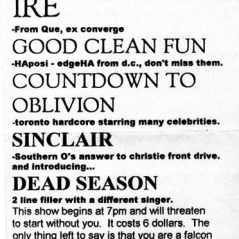 February 6th 1999 at Who's Emma (Toronto, ON) Dead Season with Ire, Good Clean Fun, Countdown to Oblivion and Sinclaire. Photo courtesy of Al Biddle