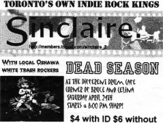 April 24th 1999 at The Different Drum Cafe (Ottawa, ON) Dead Season with Sinclaire. Photo courtesy of Al Biddle