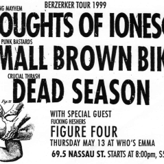 May 13th 1999 at Who's Emma (Toronto, ON) Dead Season with Small Brown Bike, Thoughts of Ionesco, Figure Four. Photo courtesy of Al Biddle