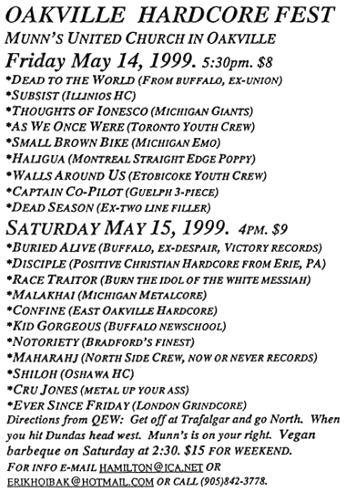 May 14-15 1999 Southern Ontario Hardcore Fest/Oakville Hardcore Fest, Munn's United Church (Oakville, ON). Photo courtesy of Erik Hoibak