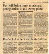 Article in the Louisville newspaper The Courier, promoting the 540 Fest in Jeffersonville, Indiana. On this page, Dead Season is mentioned playing on Saturday, June 12th 1999, right after The National Acrobat. Photo courtesy of Louisville Hardcore