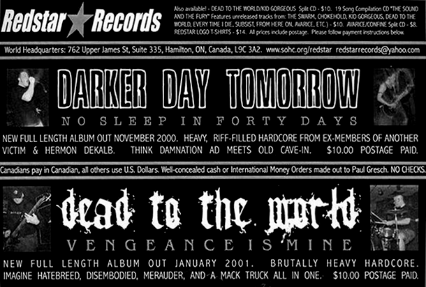 "Flyer advertising RSR006, Darker Day Tomorrow ""No Sleep in Forty Days"""