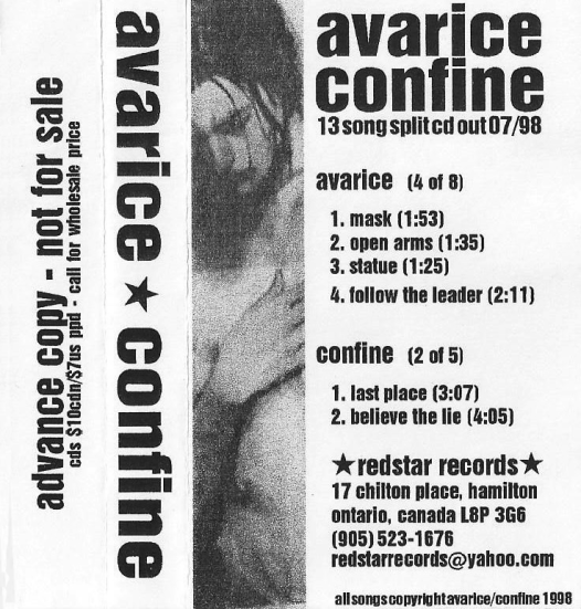 Avarice & Confine split advance copy tape sampler. Photo courtesy of Jun Matsumura