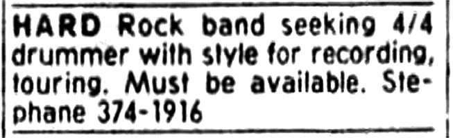 Boize's ad looking for a drummer. Placed in Montreal's The Gazette newspaper from January 8th to the 14th of 1990.