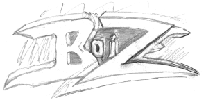 Sketch of the second Boize logo drawn by Stephane Fania in late 1990.