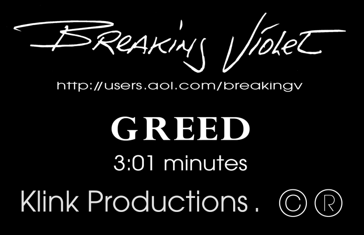 """VHS sticker for """"Greed""""'s music video, sent out to the local music channels in the summer of 1997."""