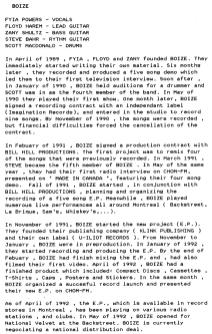 Boize's Press Kit biography, June 1992