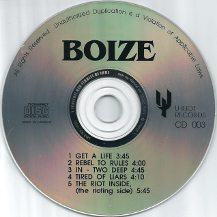 Boize's self-titled compact disc EP, released April 21, 1992 by U-Iliot Records and Klink Publishing.