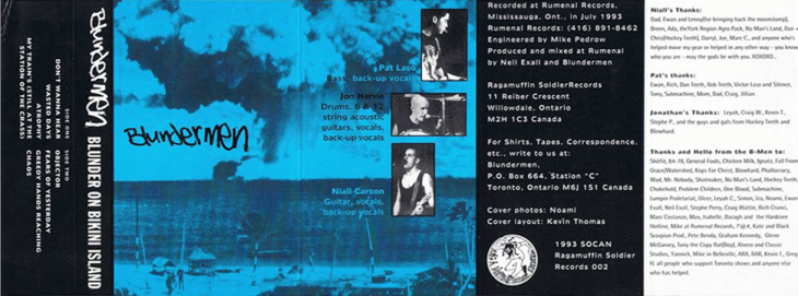 """Blunder on Bikini Island"" tape edition, Ragamuffin Soldier Records, November 20th 1993."