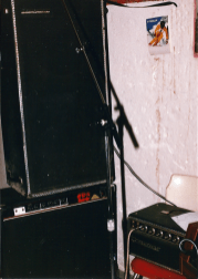 Unmarked's rehearsal space, Bob's basement, circa September 1987. Bass amp.
