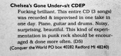 Chelsea's Gone Under review in Punk Planet issue No. 12 (1995)