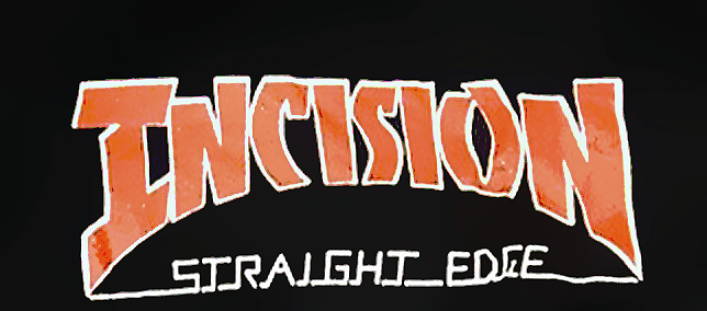 The second Incision t-shirt design, featuring the third logo used in September and October of 1993. T-shirt created and designed by Darryl DeHaan.