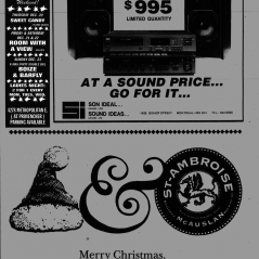 Flyer from the Montreal Mirror magazine for Boize's show at Sams's Rock Bar, Saint-Leonard, Canada with Barfly on December 23rd 1990.